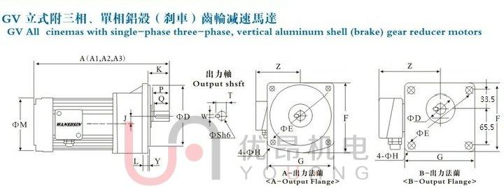 尺寸(mm)a1为三相电机尺寸,a2为单相电机尺寸,a3为带刹车电机尺寸